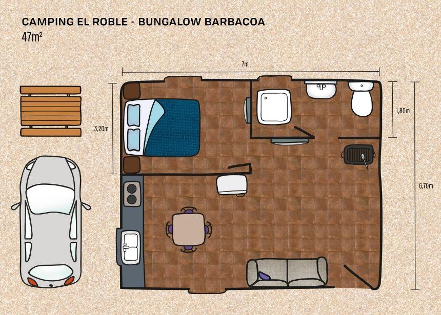 Detalle dimensiones bungalow con barbacoa