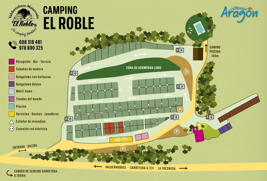 Plano de las instalaciones Camping el Roble
