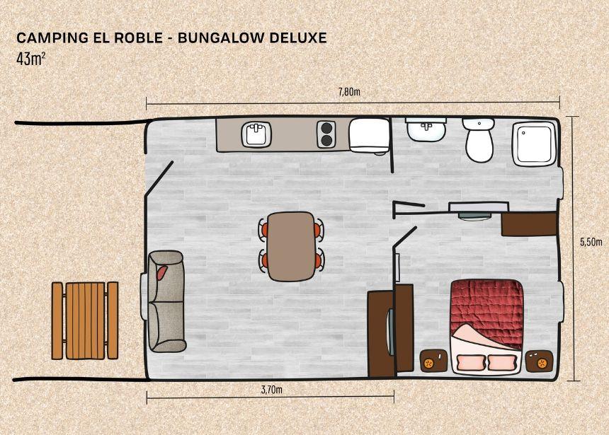 Mapa Bungalow deluxe en Camping