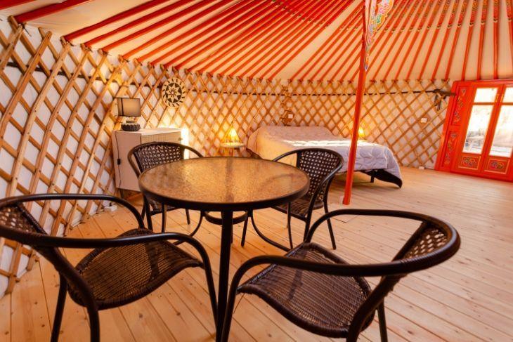 Mesas en la Yurta